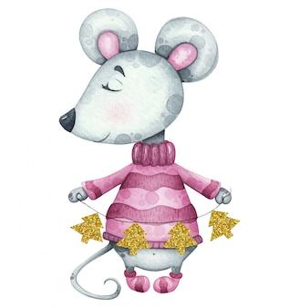 Новогодняя иллюстрация с мышкой в свитере с золотыми гирляндами деревьев