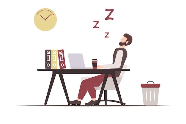 オフィスで寝るのに疲れた男性