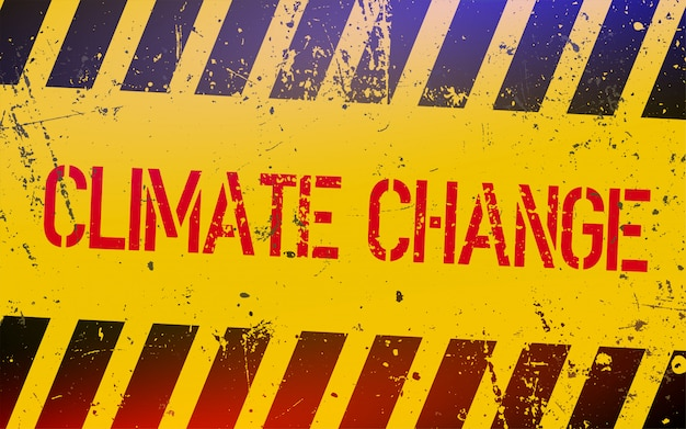 黄色と黒のストライプの危険サインの気候変動のレタリング。