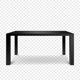 光沢のある黒いテーブル正面。