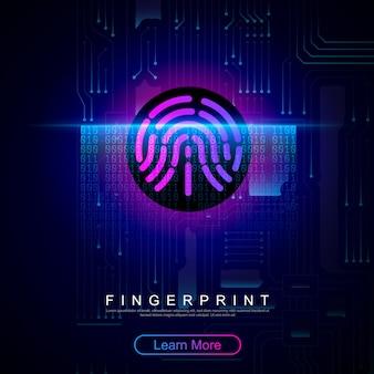指紋スキャン:プリント回路に組み込まれた指紋。指紋スキャン識別。システムセキュリティの概念。