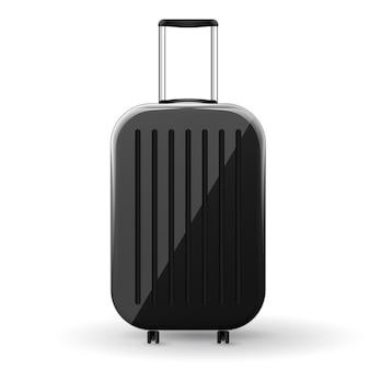 スピナーホイールのイラストが黒い光沢のあるハードシェルスーツケース。