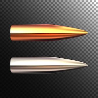 透明な背景に現実的な弾丸。光沢のあるライフルの弾丸。