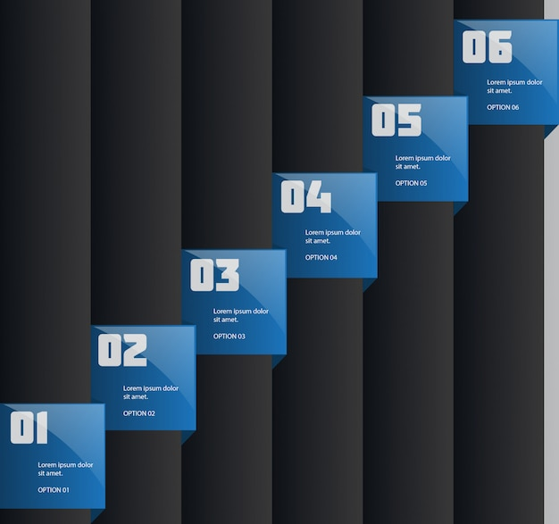 Творческая инфографика шаблон с шестью шагами