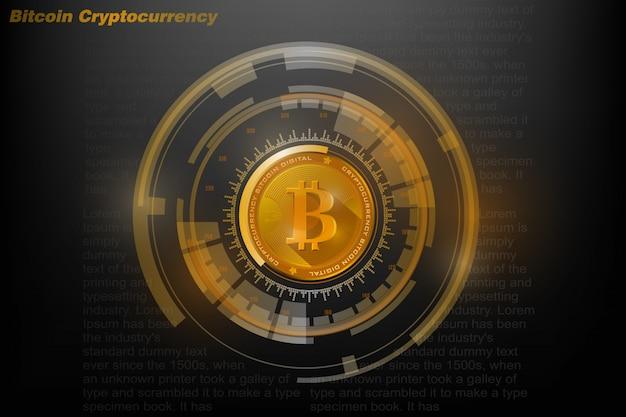 Биткойн криптовалюта, золотая биткойн, цифровая валюта и голограмма мирового шара, футуристические цифровые деньги и технологии, концепция всемирной сети, векторная иллюстрация
