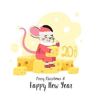 Крыса в костюме санта-клауса сидит на куче вкусного сыра.