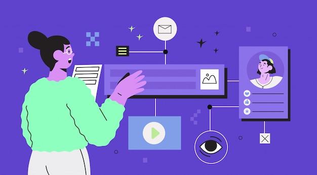 Женщина дизайнер создает новый веб-сайт или приложение.