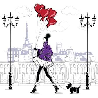 Модные девушки в стиле эскиз в париже. мода женский портрет.