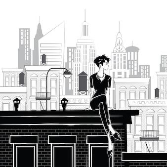 Мода девушка в стиле эскиз в нью-йорке