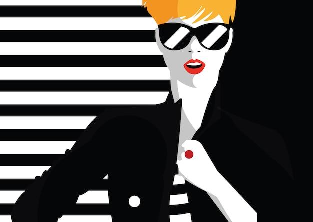 スタイルポップアートのファッション女性。