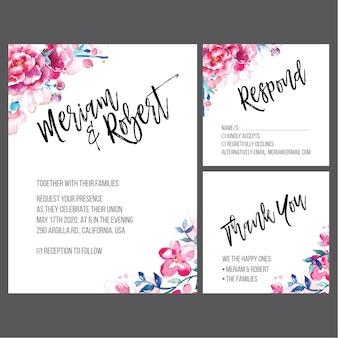 水彩の結婚式の招待状セット