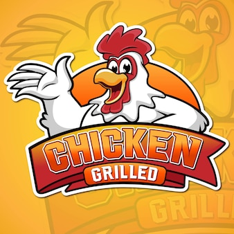 Жареная курица талисман иллюстрация