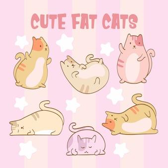 Изолированный набор милых жирных кошек