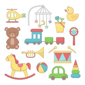 赤ちゃん用のおもちゃとアクセサリーのセット。カラフルな漫画