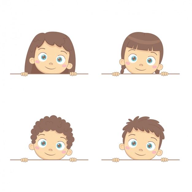 男の子と女の子と空白のフレーム。幼児を笑顔で広告パンフレットのテンプレート。