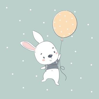 Милый ребенок кролик мультфильм иллюстрации.