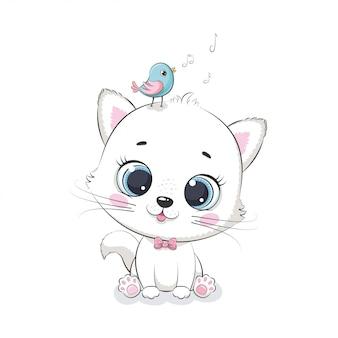 Милый кот с птицей. иллюстрация для детского душа, открытки, приглашения на вечеринку, модная одежда футболки печать.