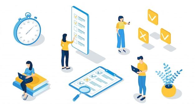 オンライン試験、オンラインテスト、アンケートフォーム、オンライン教育、調査、インターネットクイズの概念。等尺性ベクトルイラスト。
