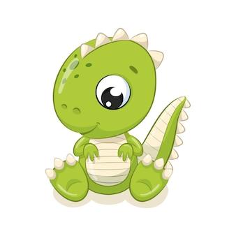 Милая иллюстрация динозавра младенца. иллюстрация для детского душа, поздравительной открытки, приглашения на вечеринку, модная одежда печать футболки.