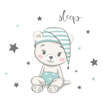 寝酒でかわいい赤ちゃんクマ。手描きのベビーシャワーのスタイルのイラスト。