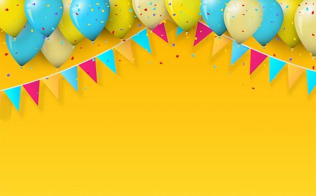 Партия фон с воздушными шарами и день рождения флаги на желтом