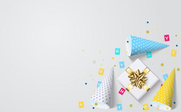 Партия фон с красочными шляпы и подарки на день рождения