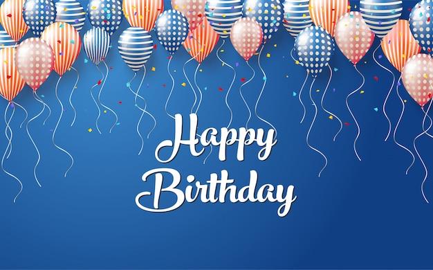 Фон для дня рождения с иллюстрациями различных воздушных шаров, прикрепленных к синей стене.