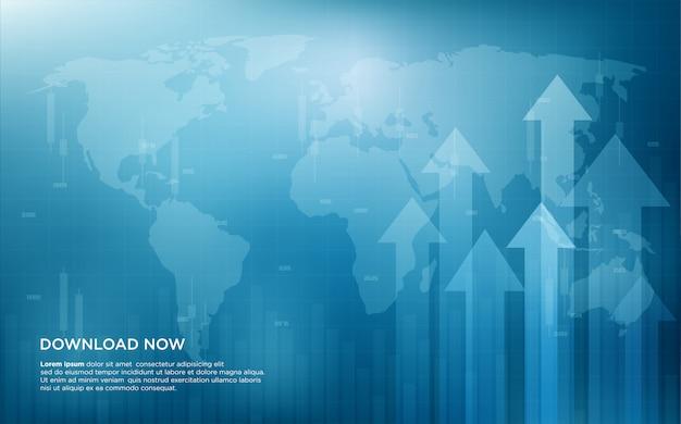 Торговый фон с иллюстрацией биржевой торговли растет вверх.