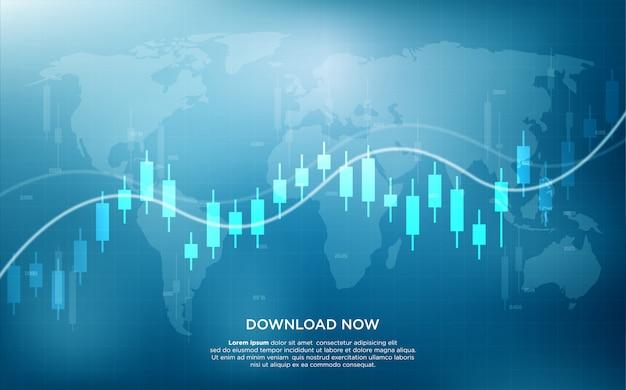 Торговый фон с иллюстрацией гистограммы и изогнутой диаграммы