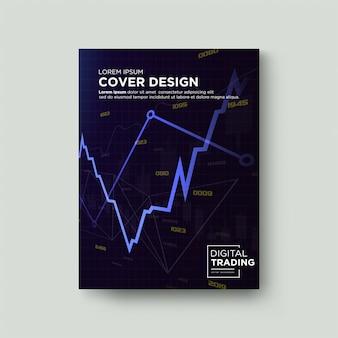 Торговая обложка. с графической иллюстрацией увеличенного синего сердечного ритма.