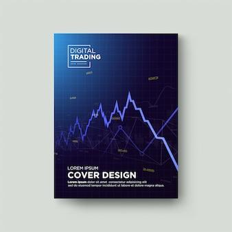 Торговая обложка. с графической иллюстрацией синего сердечного ритма вверх и вниз.