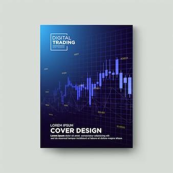 Торговая обложка. с графической иллюстрацией восходящей голубой свечи.