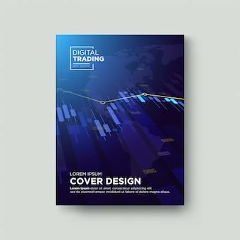Торговая обложка. с иллюстрацией прозрачной голубой биржевой диаграммы свечей.