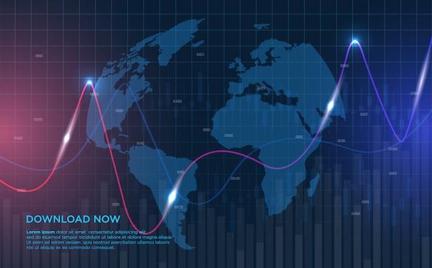 Торговые фоны с изогнутыми графическими иллюстрациями все больше растут.