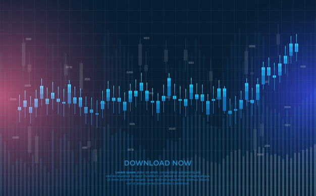 Торговая предпосылка с голубыми иллюстрациями диаграммы в виде вертикальных полос.