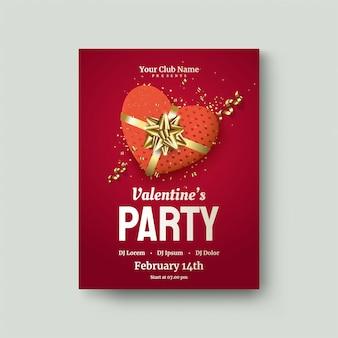 День святого валентина постер с красной любовной подарочной коробкой на красном