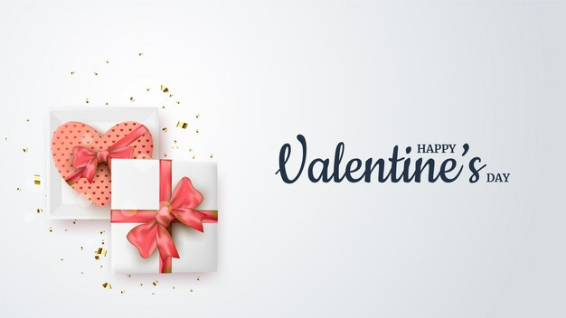 Предпосылка дня валентинки с иллюстрацией подарочной коробки на белой предпосылке.