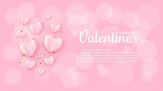 Предпосылка дня валентинки с иллюстрацией воздушного шара пинка влюбленности на розовой предпосылке нерезкости.