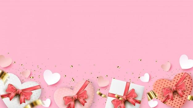 Валентина фон с иллюстрацией подарочной коробке в форме коробки и любви на розовом фоне.