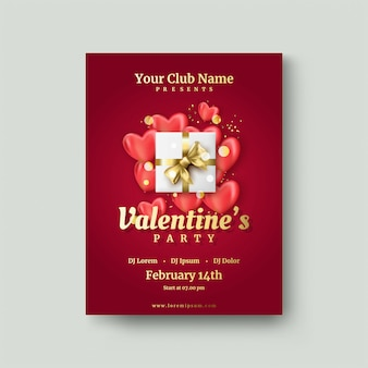 День святого валентина плакат с подарочной коробке на красный любовь шар.