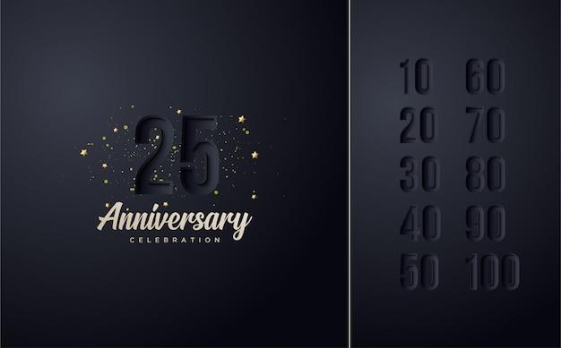 お祝い数字エレガントな黒。