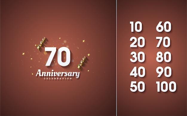 お祝いの数字は白で、茶色がかった赤に影の効果があります。
