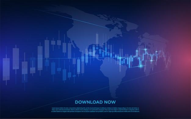 Торговля с изображением прозрачного белого рынка биржевой диаграммы с темно-синим цветом.