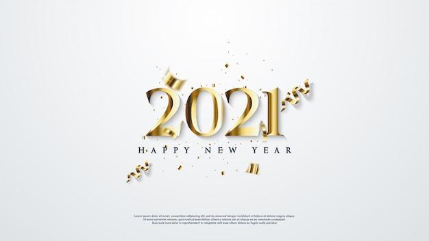 エレガントなゴールドカラーで新年あけましておめでとうございますの背景。