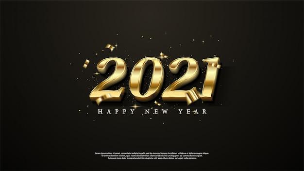 黒の背景にエレガントなゴールドで新年あけましておめでとうございますの背景。