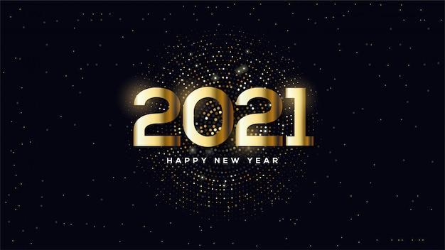 ハーフトーンサークルイラストとゴールドで新年あけましておめでとうございますの背景。