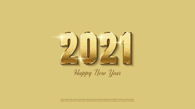エレガントなゴールドのキラキラと幸せな新年の背景。