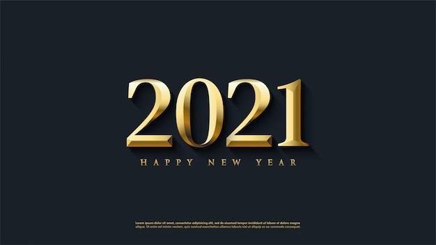 古典的な金の数字で新年あけましておめでとうございますの背景。