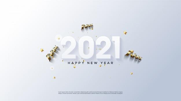 ゴールドリボンと白で新年あけましておめでとうございますの背景。