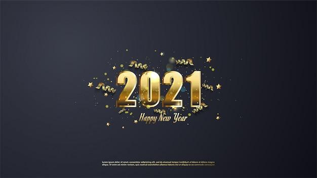 ゴールドリボンとゴールドの星と新年あけましておめでとうございますゴールド色の背景。